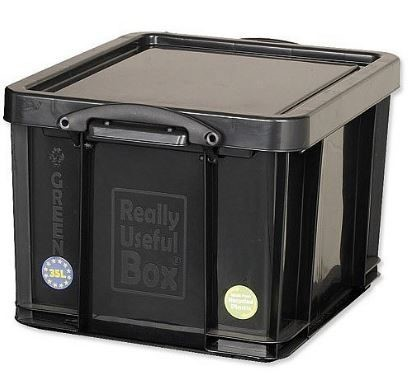 35 Litre Black Really Useful Plastic Storage Box Container