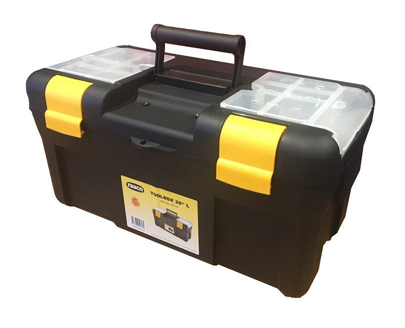 Raaco Padlockable 20 Inch Toolbox with Insert Tray and Lid Assorters