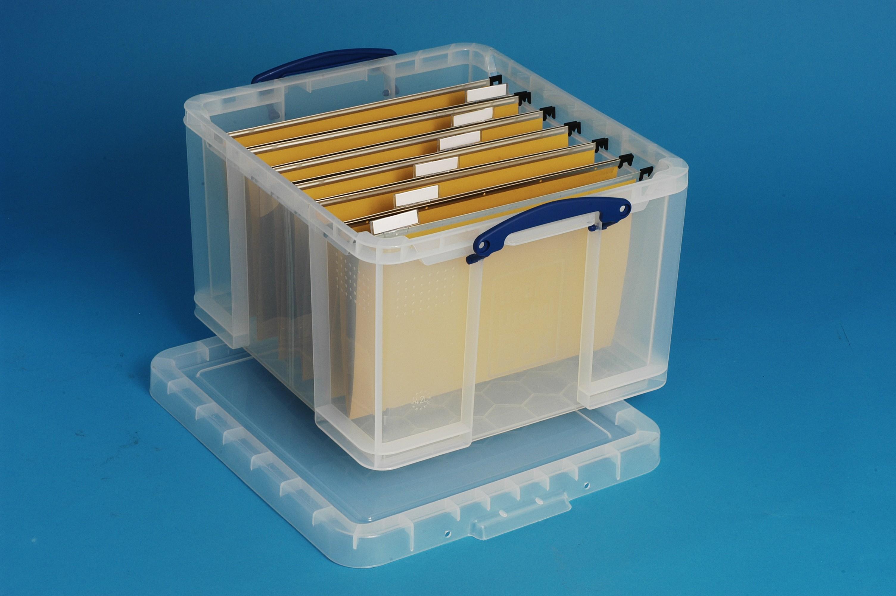 42 Ltr Transparent Really Useful Plastic Storage Box
