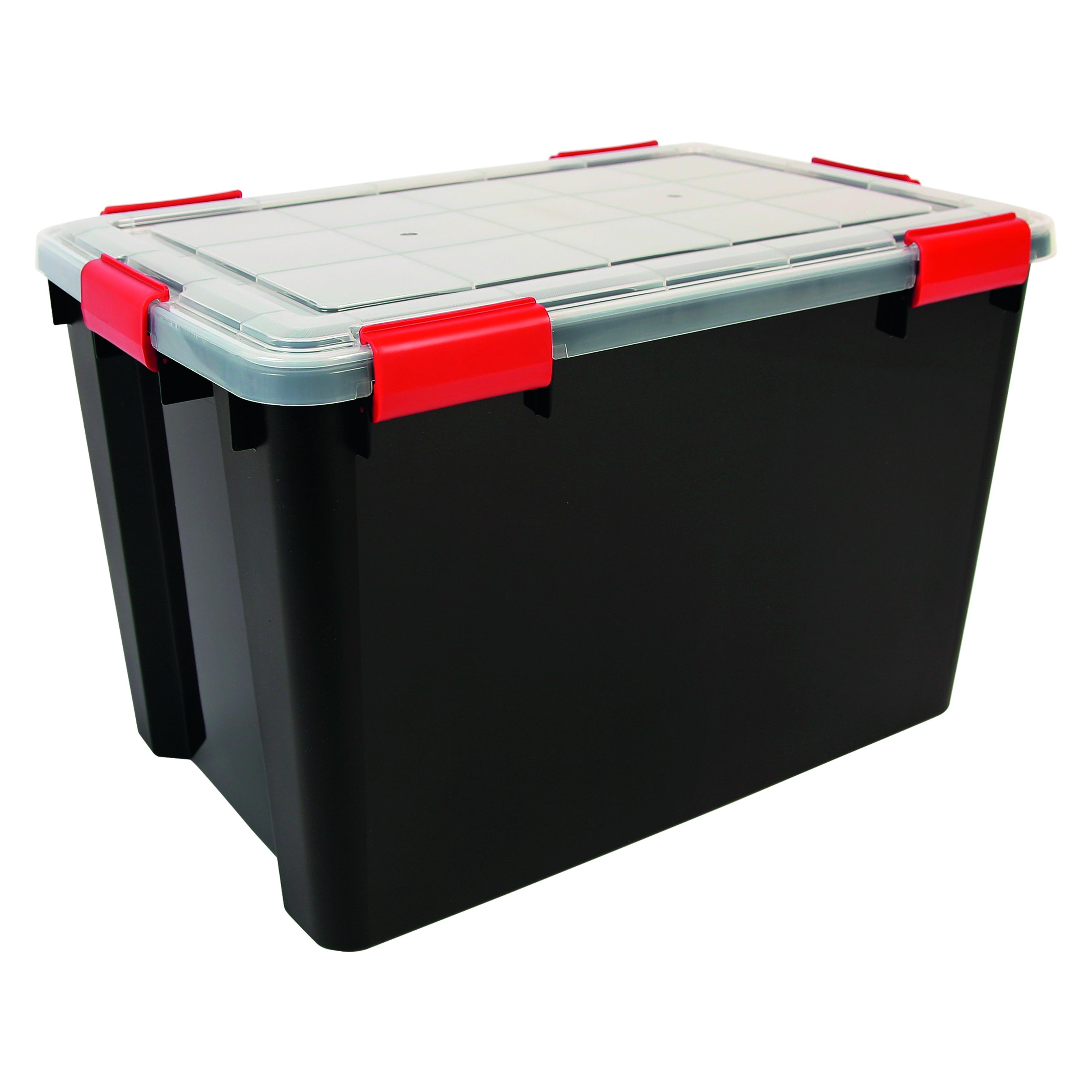 70 Ltr XL Iris Airtight Clear Plastic Storage Box with Black Base